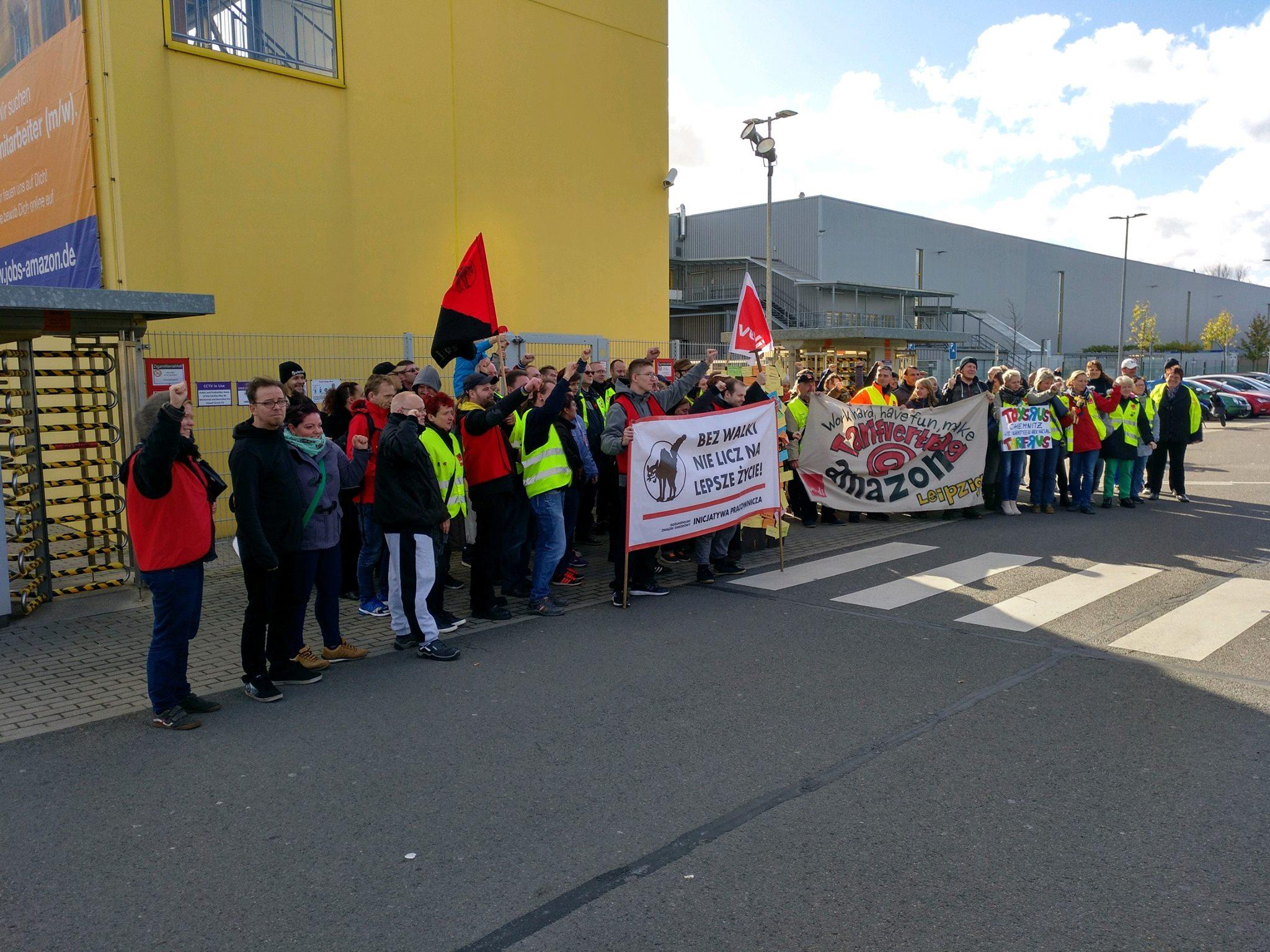 Wir besuchen die Streikenden bei Amazon! - Aktion in Leipzig - Make ...